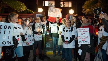 20.08.2018 r., Sydney, protest australijskiej Polonii podczas wizyty prezydenta Andrzeja Dudy.