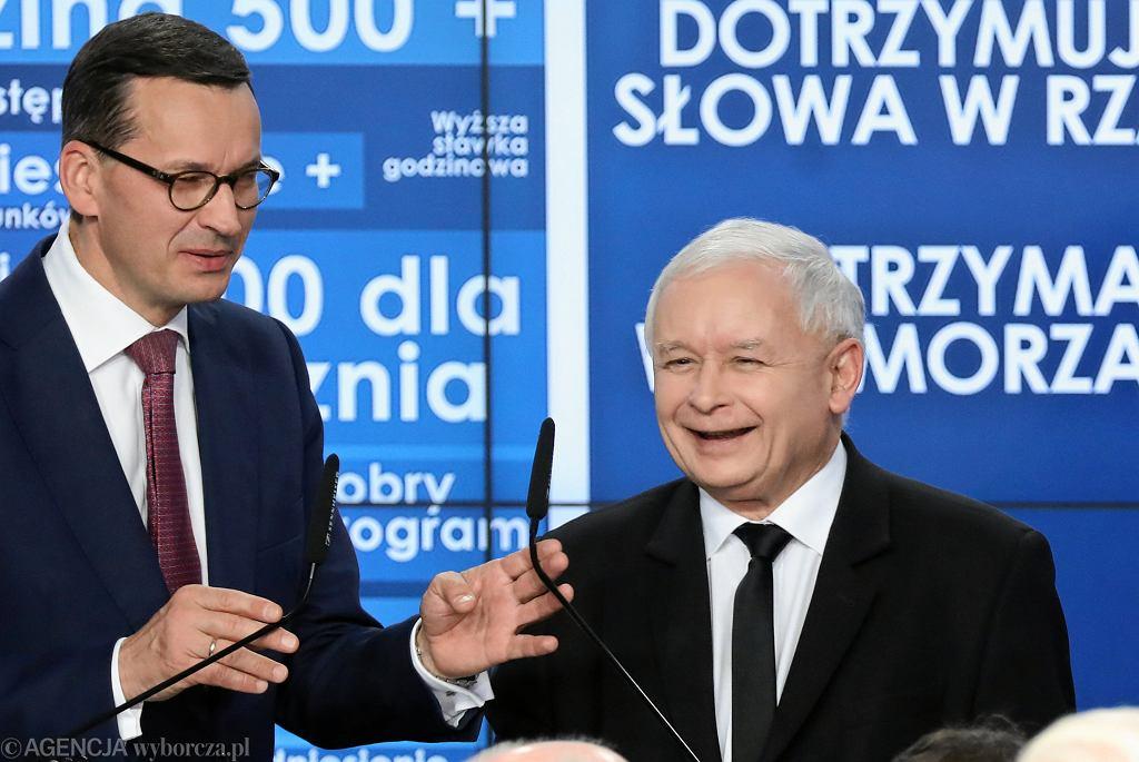 Wybory Samorządowe 2018 - premier Mateusz Morawiecki i prezes PiS Jarosław Kaczyński