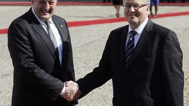 Prezydent Gruzji Giorgi Margwelaszwili i Bronisław Komorowski