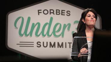 """Monica Lewinsky podczas wystąpienia na spotkaniu """"Trzydziestu poniżej trzydziestki"""" zorganizowanym przez magazyn """"Forbes"""""""
