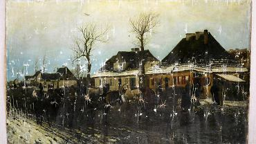 Odnaleziony obraz Maksymiliana Gierymskiego ' Zima w małym miasteczku ' podczas prezentacji w Sukiennicach