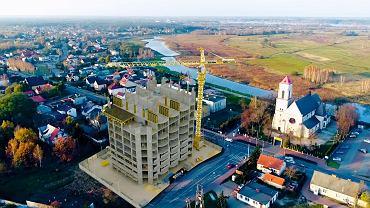 Przygotowana na zlecenie urzędu gminy wizualizacja wieżowca, który ma powstać w Wieliszewie koło Warszawy