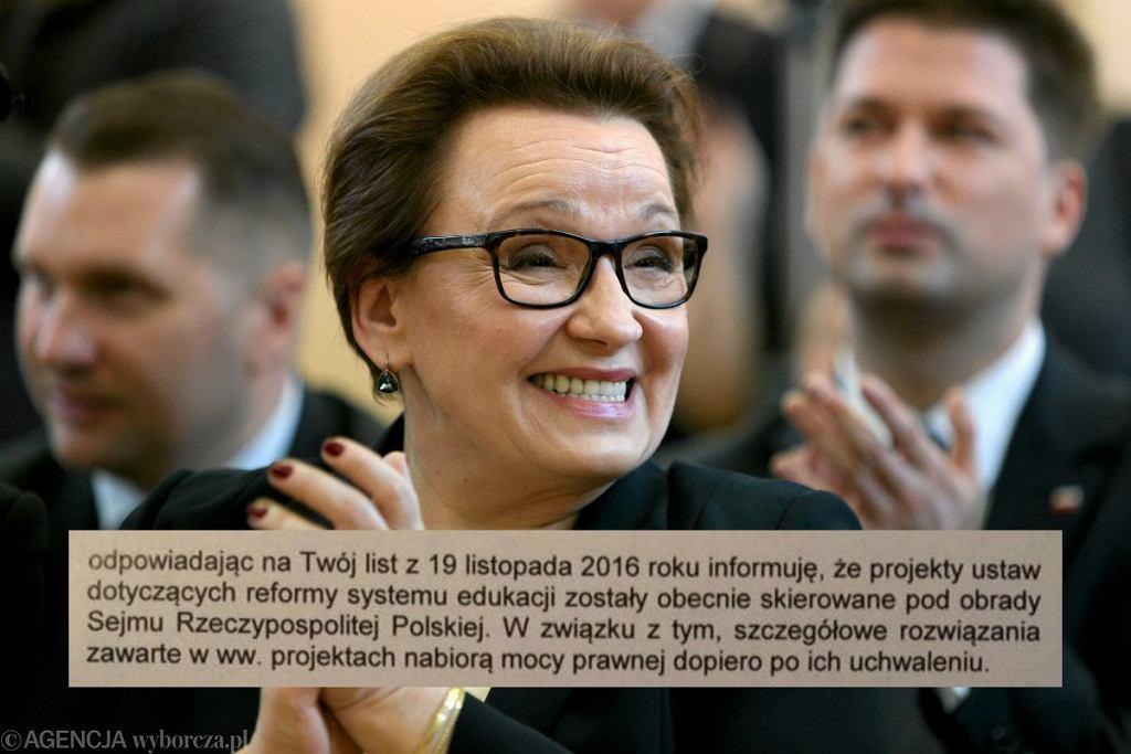 Minister Anna Zalewska i fragment odpowiedzi wysłanej z MEN do 11-latki