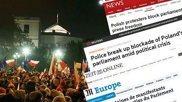 Protesty przed Sejmem w światowych mediach