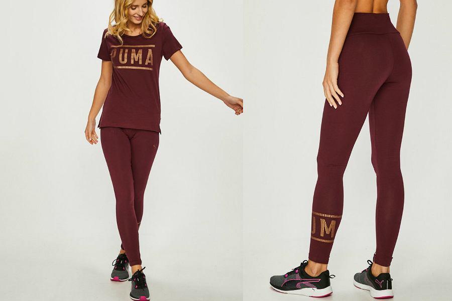 leginsy damskie sportowe marki Puma w kolorze bordowym