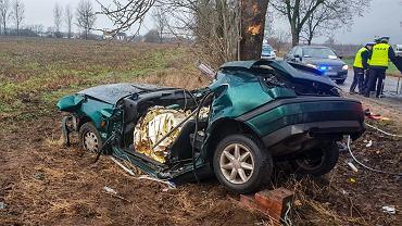 Niegosław. Samochód uderzył w drzewo. Nie żyje dwóch mężczyzn. Mieli po 22 i 21 lat