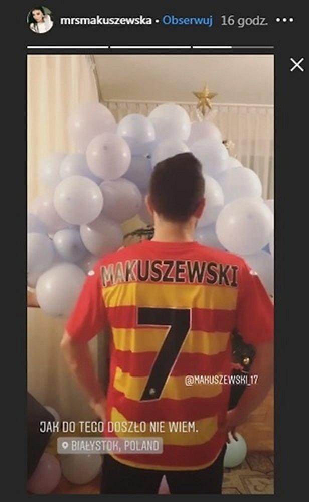 Maciej Makuszewski w koszulce Jagiellonii Białystok