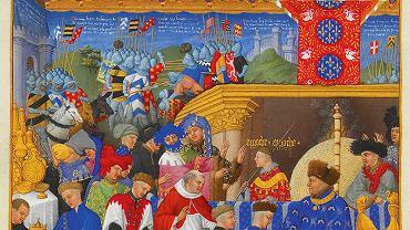 Potrawy w jaskrawych kolorach, szczególnie wżółtym, ceniono od czasówśredniowiecza aż do baroku; naobrazie książę Jan deBerry podczas uczty (1402 r.)