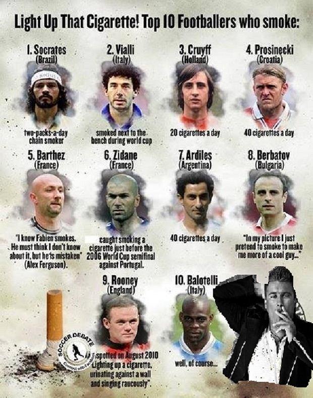 10 najsłynniejszych piłkarzy-palaczy. To znaczy, po naszej poprawce, już 11.