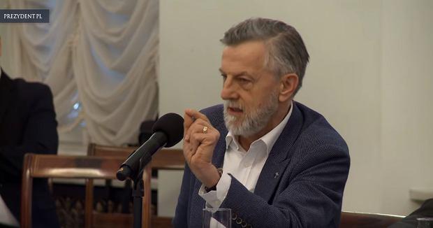 Prof. Andrzej Zybertowicz w Pałacu Prezydenckim podczas debaty oksfordzkiej w przeddzień rocznicy obrad przy Okrągłym Stole, 5 lutego 2019 r.