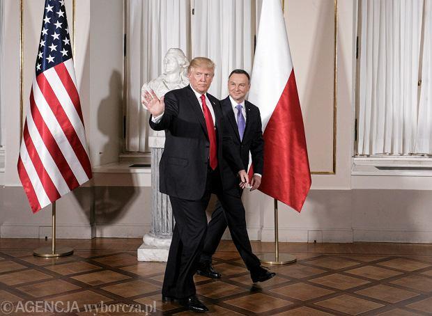 Donald Trump i Andrzej Duda podczas wizyty prezydenta USA w Polsce, lipiec 2017 r.
