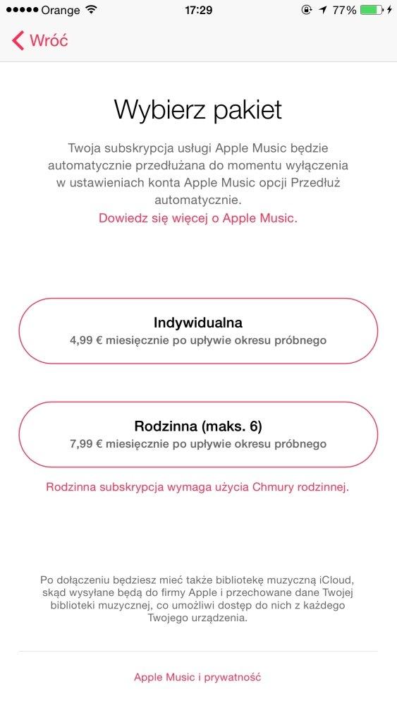 Ceny Apple Music