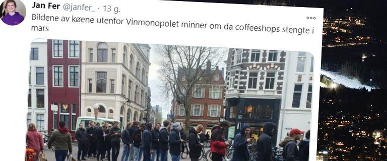 Zakaz sprzedaży alkoholu w Norwegii. Ludzie w kolejkach do monopolowych