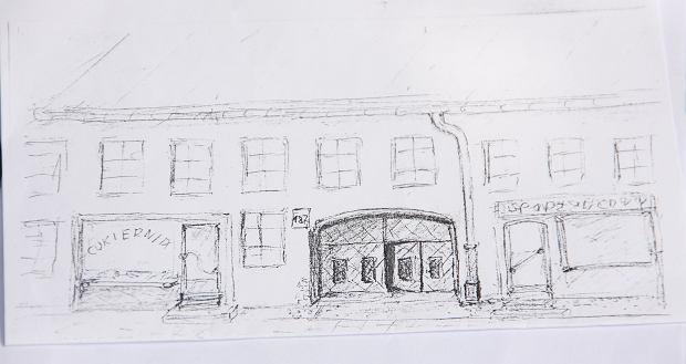Szkic domu przy ul. Czerniakowskiej 187, przygotowany przez jednego z kolegów pana Tadeusza