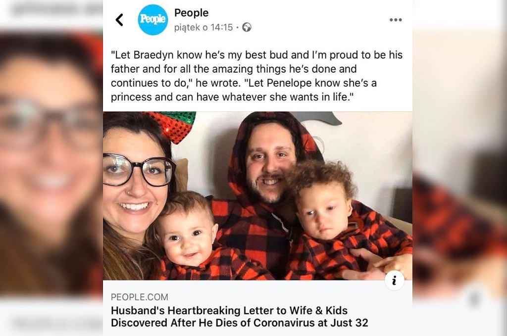 Mąż zmarł przez koronawirusa. Żona odkryła list, który napisał do niej i dzieci. Trudno nie płakać