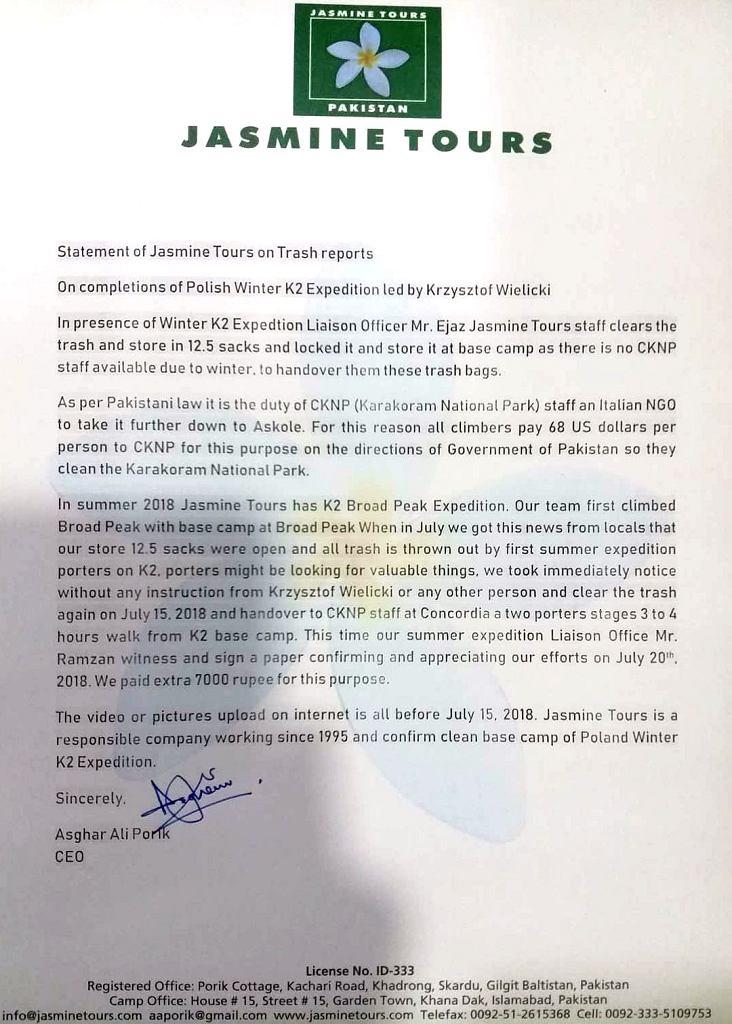 Oświadczenie Jasmine Tours w sprawie śmieci na K2