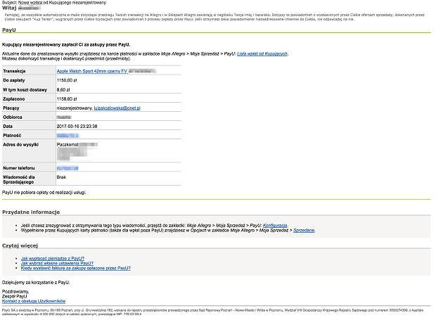 Oszustwo - rzekomy e-mail od PayU