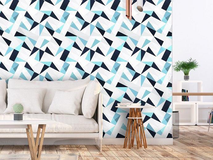Tapety na fizelinie - nowoczesny wzór trójkątnej mozaiki