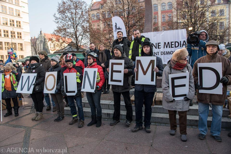 Demonstracja KOD-u 'Wolne media', Wrocław, 2016 r.