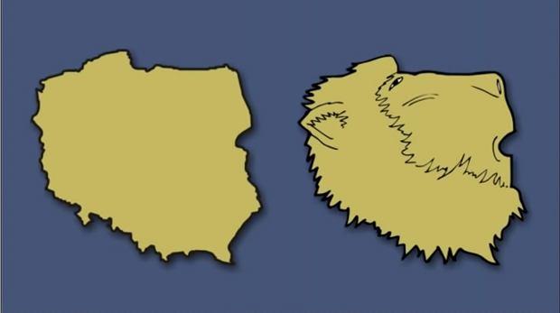 Według niemieckiego artysty Polska swoim kształtem przypomina głowę pawiana