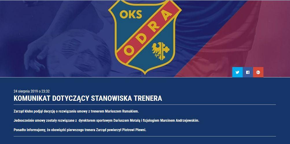 Komunikat zarządu Odry Opole