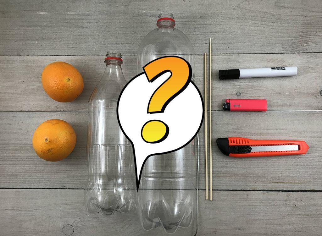 Jak zrobić wyciskarkę do cytrusów z butelek? To proste! Przygotuj: dwie plastikowe butelki, marker, nożyk tapicerski, dwa drewniane patyczki do szaszłyków, drucik i zapalniczkę.
