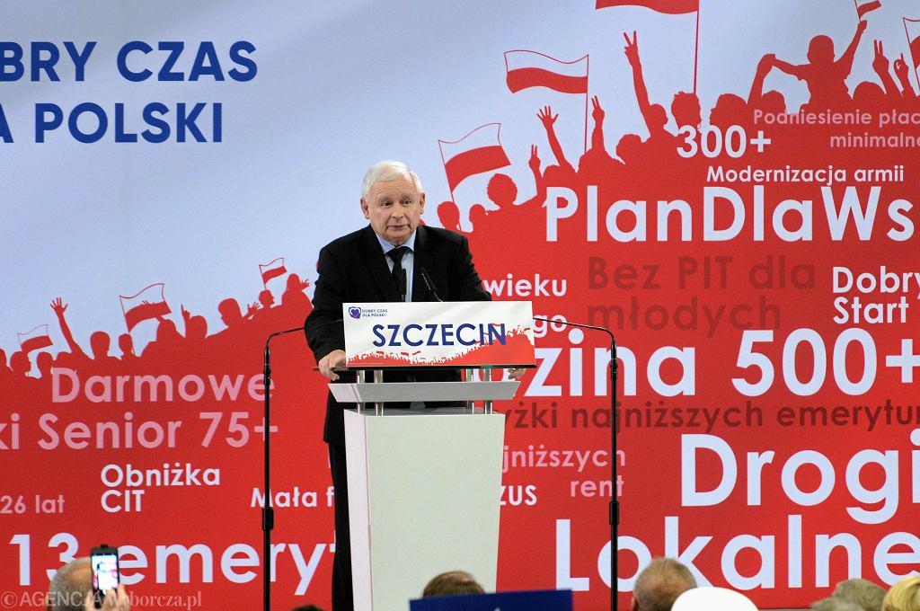 Prezes PiS Jarosław Kaczyński podczas konwencji swojej partii w Szczecinie, 29 września 2019