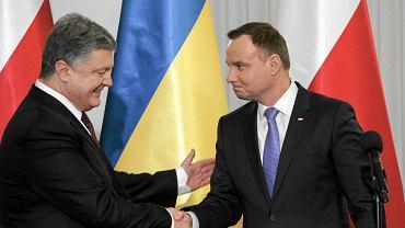 Prezydent Ukrainy Petro Poroszenko podczas spotkania z prezydentem Polski Andrzejem Duda.
