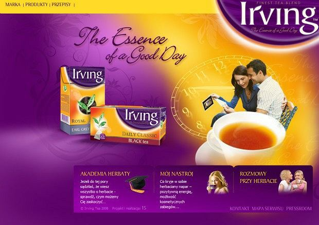Strona internetowa herbaty Irving