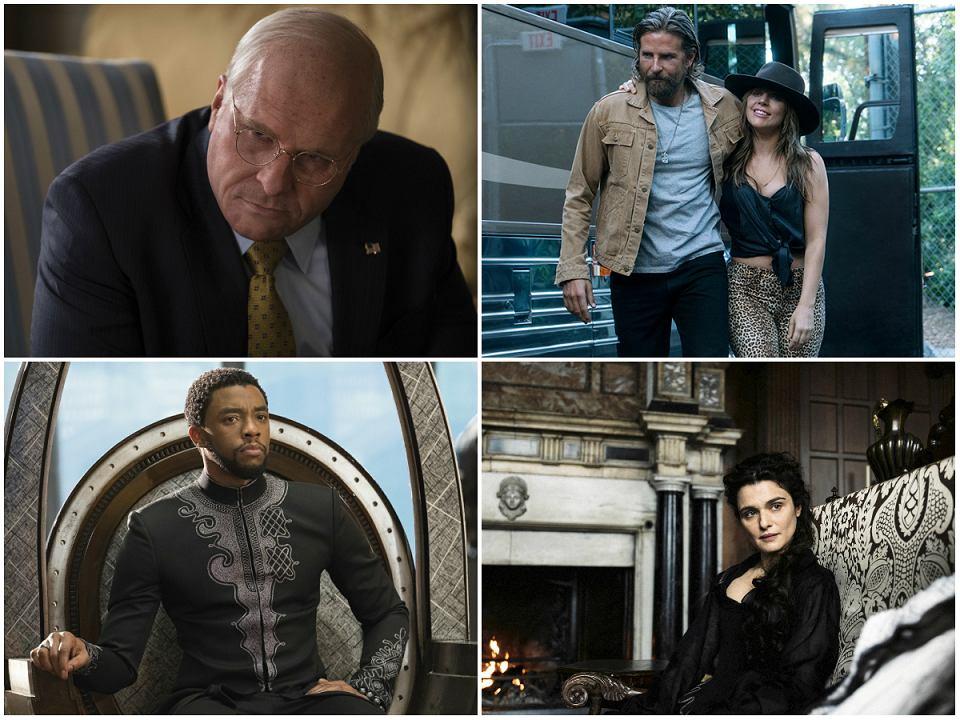 Kadry z filmów 'Vice', 'Czarna Pantera', 'Narodziny gwiazdy' i 'Faworyta'