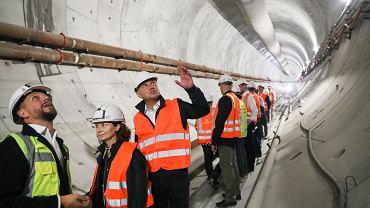 Andrzej Duda na placu budowy tunelu w Świnoujściu.