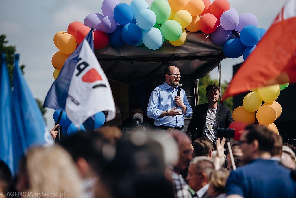 Prezydent Gdańska Paweł Adamowicz podczas Trójmiejskiego Marszu Równości. Gdańsk, 26 maja 2018 r.