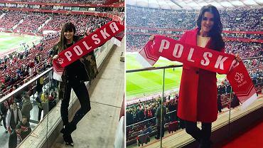 Anna Lewandowska i Agnieszka Radwańska na meczu Polska-Łotwa