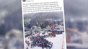 Szczyrk. Tłumy turystów na stokach narciarskich. Korki i brak miejsc do parkowania
