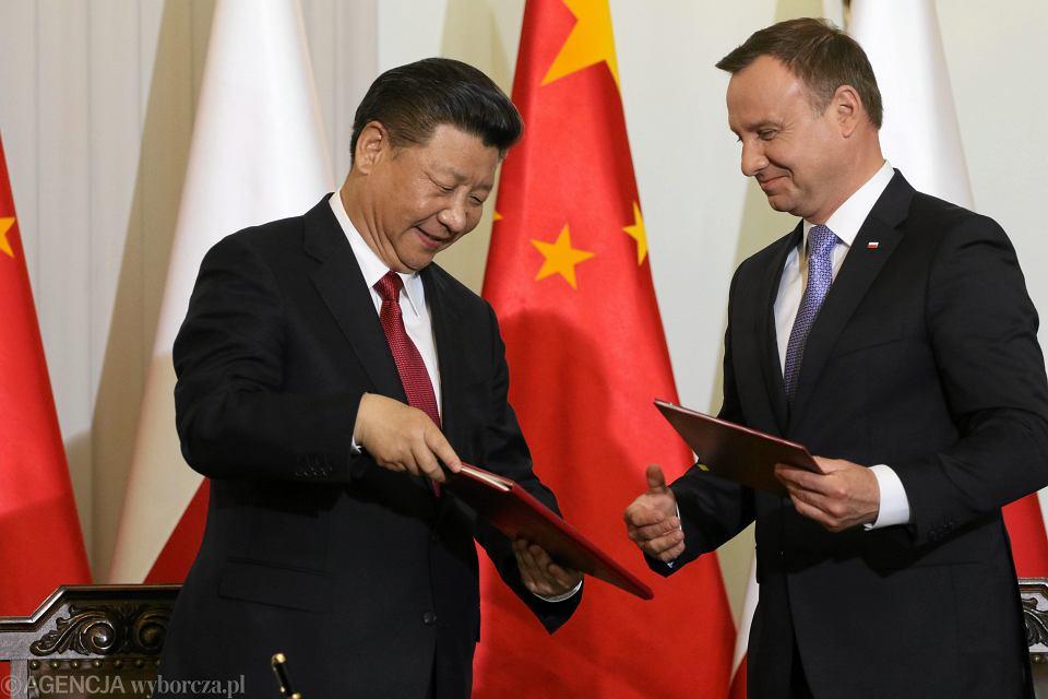 20.06.2016, Warszawa, Pałac Prezydencki, przewodniczący Chińskiej Republiki Ludowej Xi Jinping i prezydent Polski Andrzej Duda.