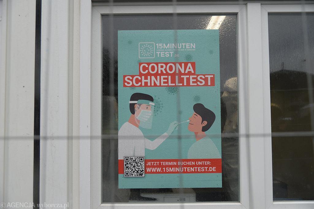 Pandemia koronawirusa. Otwarcie punktu szybkich testów antygenowych (na obecność zakażenia COVID-19) na przejściu granicznym Linken - Lubieszyn, 13 marca 2021