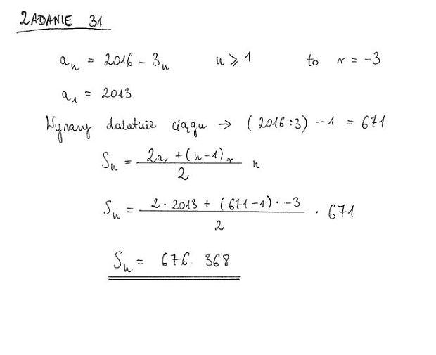 Matura poprawkowa 2016, matematyka. Zadanie 31