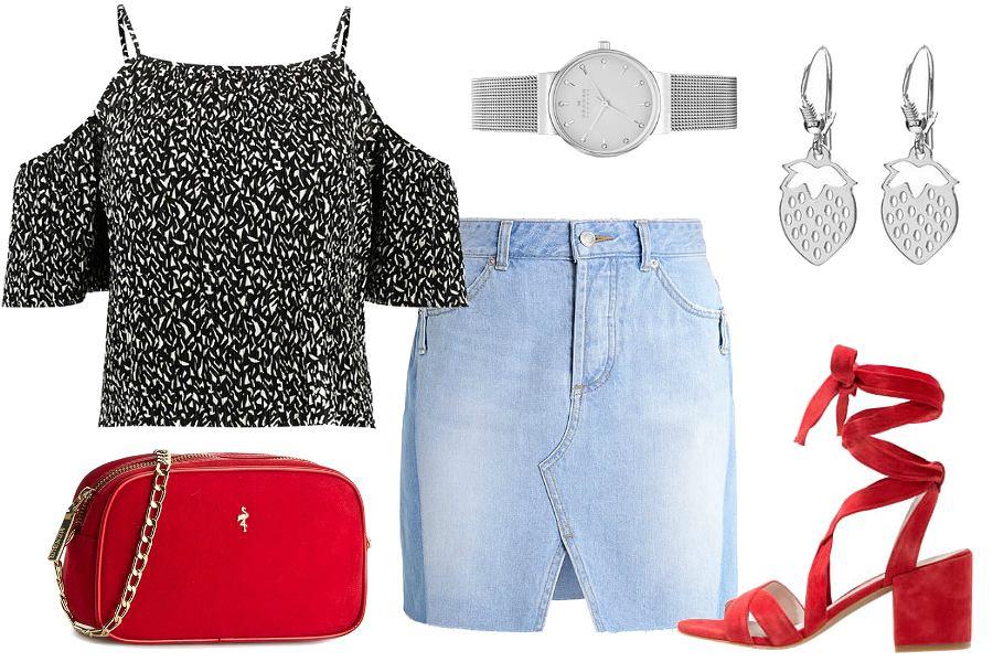 Wiązane sandały i spódnica jeansowa / kolaż: mat. partnera