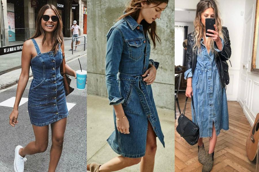jeansowe sukienki stylizacje