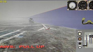 Wizualizacja lotu z 10 kwietnia 2010. Tu 154M tuz przed zderzeniem z brzozą