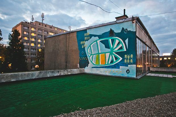 Mural 'xO =:O;>' współautorstwa Emilii Dudziec na tarasie Miejskiej Galerii Sztuki w Częstochowie