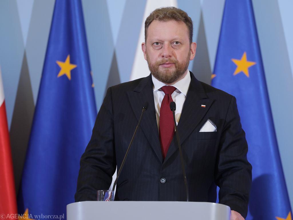 Minister zdrowia Łukasz Szumowski podczas konferencji prasowej premiera ws. epidemii koronawirusa w Polsce, KPRM 13.03.2020