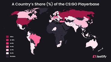 Tak prezentuje się baza graczy CS:GO na świecie.
