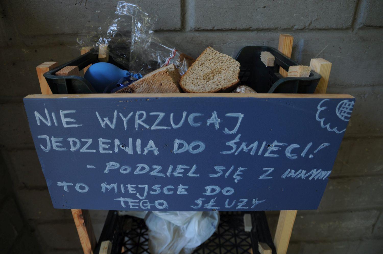 Regał na jedzenie w jednym ze szczecińskich śmietników (fot. Fot. Łukasz Wądołowski / Agencja Gazeta)
