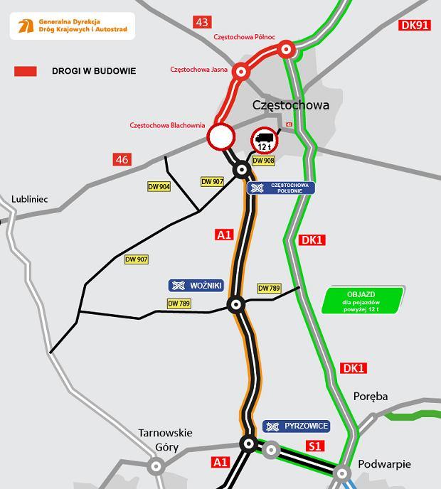 Autostrada A1, Częstochowa Południe - Pyrzowice