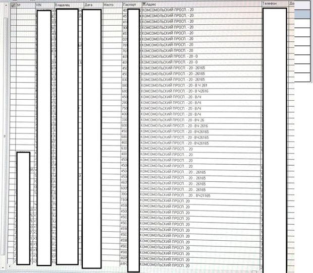Część listy osób, które zarejestrowały swoje samochody pod adresem siedziby jednostki GRU