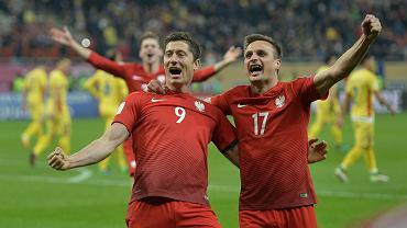 Robert Lewandowski i Sławomir Peszko w meczu Polska - Rumunia