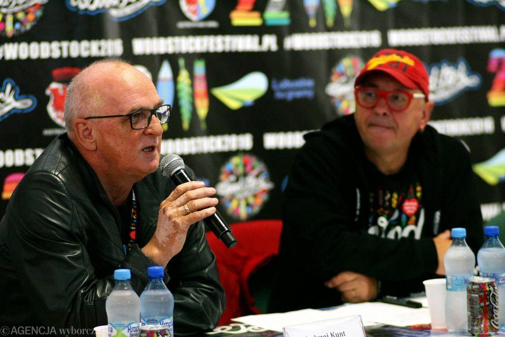 Andrzej Kunt i Jurek Owsiak podczas konferencji prasowej na Przystanku Woodstock, 2016