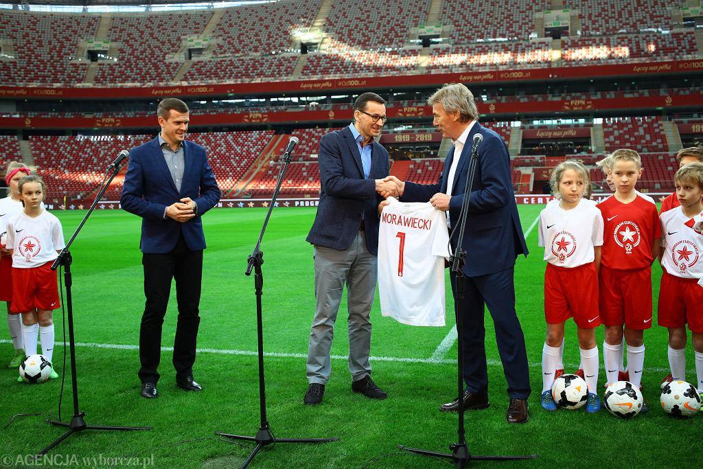 Stadion Narodowy. Witold Bańka, Mateusz Morawiecki i Zbigniew Boniek