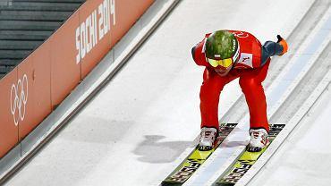 Kamil Stoch podczas treningu w Soczi